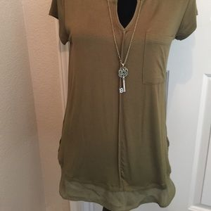 Anthropologie bordeaux size medium olive blouse